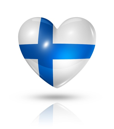 Love Finland symbol. 3D heart flag icon isolated on white with clipping path photo