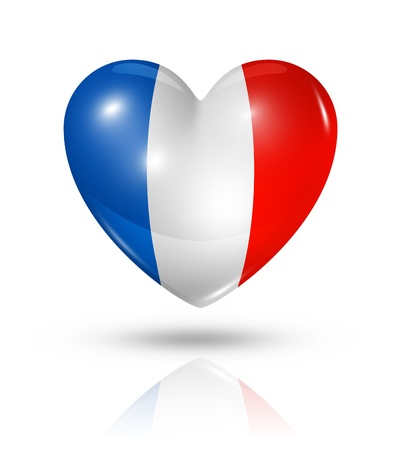 Love France symbol. 3D heart flag icon isolated on white with clipping path Standard-Bild