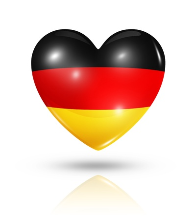 Love Germany symbol. 3D heart flag icon isolated on white with clipping path photo