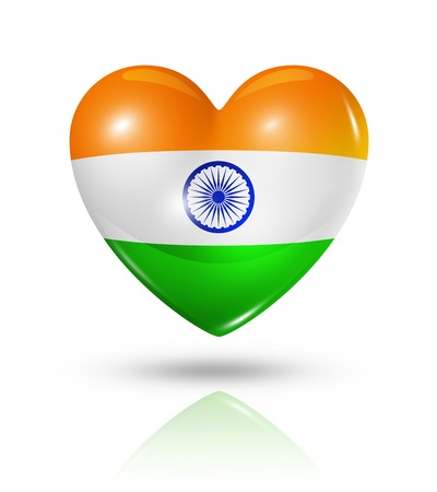 Love India symbol. 3D heart flag icon isolated on white with clipping path photo