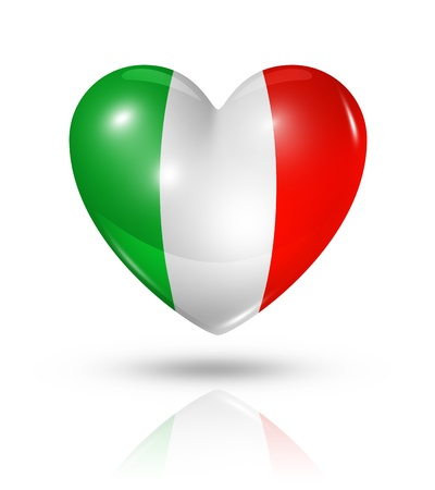 愛のイタリアのシンボルです。クリッピング パスを白で隔離される 3 D ハート フラグ アイコン