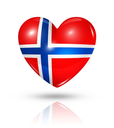 love icons: Love Norway symbol. 3D heart flag icon isolated on white with clipping path