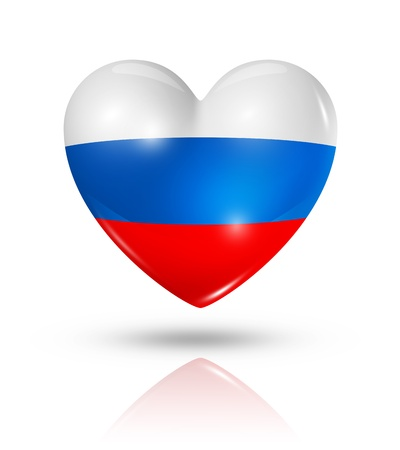 bandera rusia: Amor Rusia símbolo. Icono 3D del corazón del indicador aislado en blanco con trazado de recorte