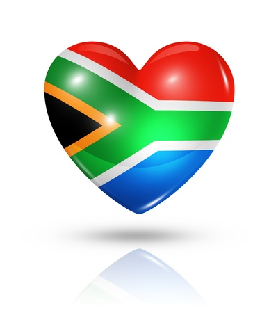 Love South Africa symbol. 3D heart flag icon isolated on white with clipping path photo