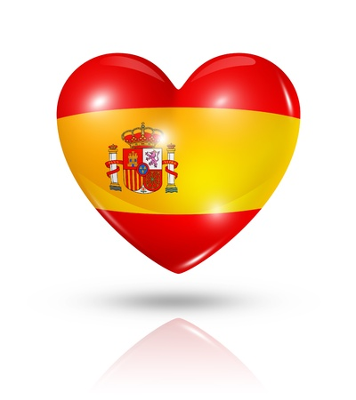Love Spain symbol. 3D heart flag icon isolated on white with clipping path photo