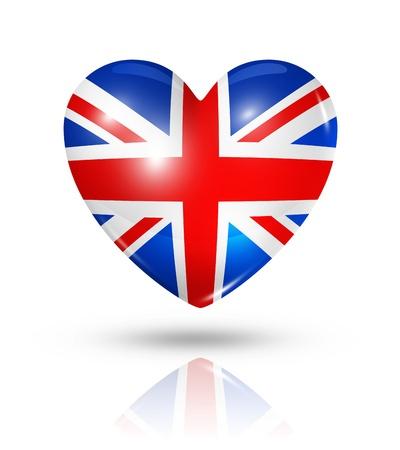 연합 왕국: 영국 기호를 사랑 해요. 3D 심장 플래그 아이콘 클리핑 패스와 함께 흰색에 격리