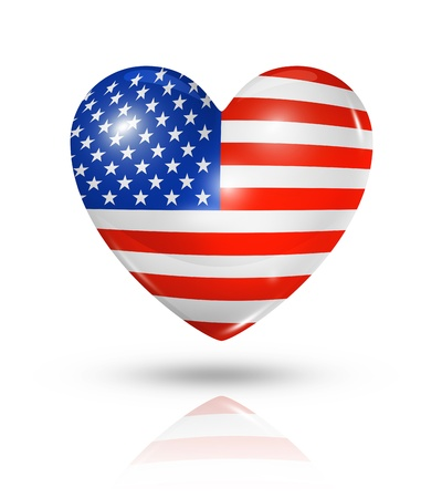 american flag background: Love USA symbol. 3D heart flag icon isolated on white with clipping path