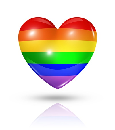 Gay pride love symbol. 3D rainbow heart flag icon isolated on white with clipping path Standard-Bild