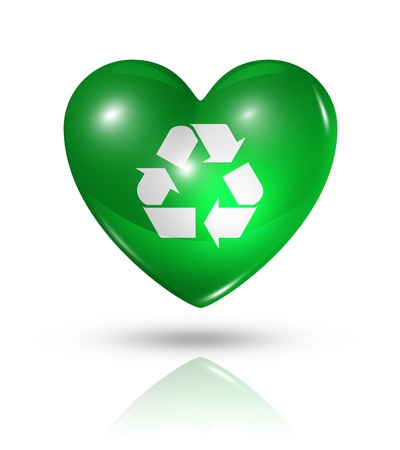Love recycling, environment symbol. 3D heart icon isolated on white with clipping path photo