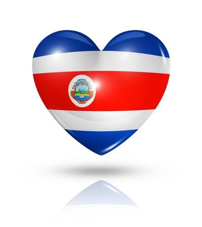 bandera de costa rica: Amor símbolo Costa Rica. 3D icono de la bandera del corazón aislado en blanco