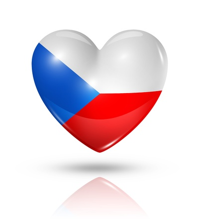 czech flag: Love Czech Republic symbol. 3D heart flag icon isolated on white with clipping path Stock Photo