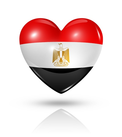 egypt flag: Love Egypt symbol. 3D heart flag icon isolated on white with clipping path
