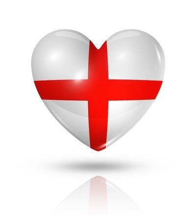 bandiera inghilterra: Amore Inghilterra simbolo. Icona della bandiera del cuore 3D isolato su bianco