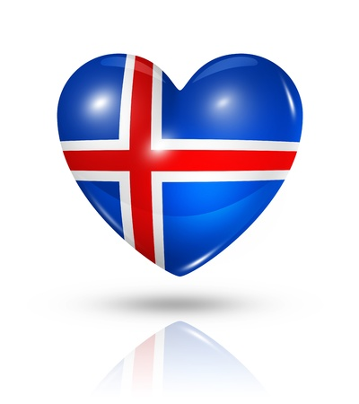 iceland: Love Iceland symbol. 3D heart flag icon isolated on white  Stock Photo
