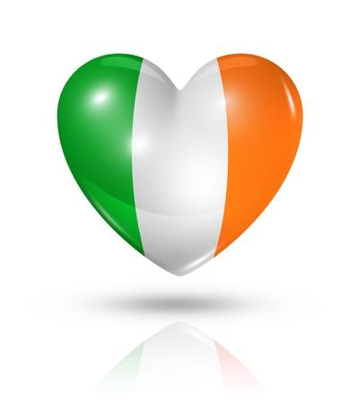 irish pride: Love Ireland symbol. 3D heart flag icon isolated on white Stock Photo
