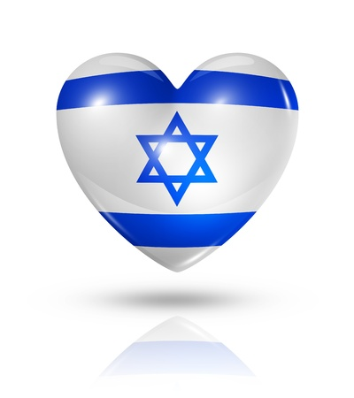 israeli: Love Israel symbol. 3D heart flag icon isolated on white  Stock Photo