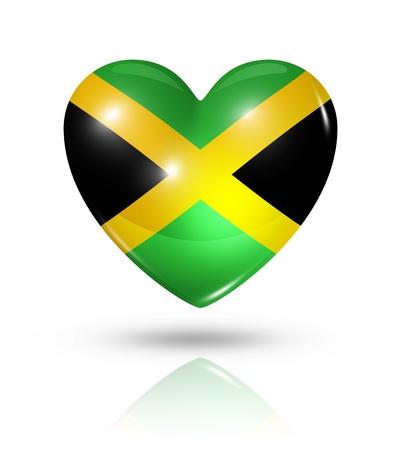 jamaican flag: Love Jamaica symbol. 3D heart flag icon isolated on white