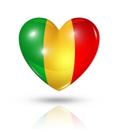 mali: Love Mali symbol. 3D heart flag icon isolated on white