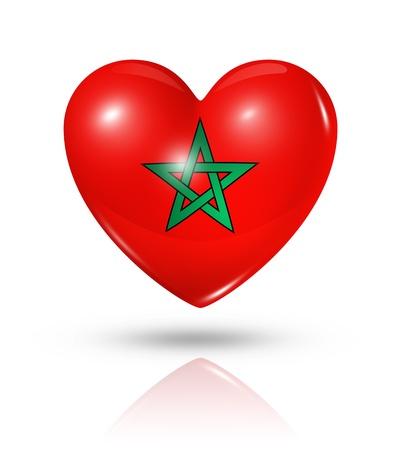 愛のモロッコのシンボルです。白で隔離される 3 D ハート フラグ アイコン 写真素材
