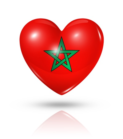 Love Morocco symbol. 3D heart flag icon isolated on white Stock Photo