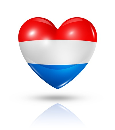 Love Netherlands symbol. 3D heart flag icon isolated on white photo
