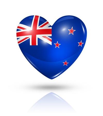 bandera de nueva zelanda: Amor Nueva Zelanda símbolo. 3D icono de la bandera del corazón aislado en blanco