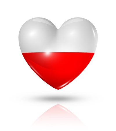 Love Poland symbol. 3D heart flag icon isolated on white  photo