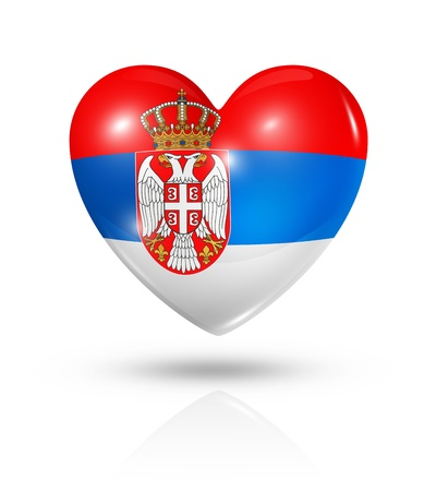 serbia: Love Serbia symbol. 3D heart flag icon isolated on white