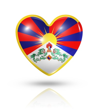 tibet: Love Tibet symbol. 3D heart flag icon isolated on white