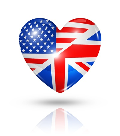 Love USA and UK symbol. 3D heart flag icon isolated on white Standard-Bild