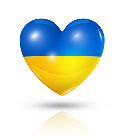 Love Ukraine symbol. 3D heart flag icon isolated on white photo