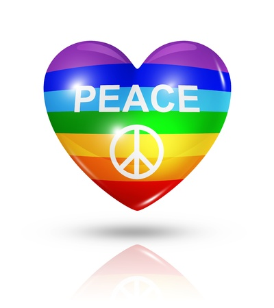 Love peace symbol. 3D rainbow heart flag icon isolated on white Stock Photo - 21995188