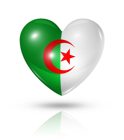 Love Algeria symbol  3D heart flag
