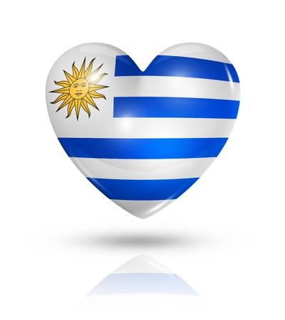 uruguay: Love Uruguay symbol  3D heart flag