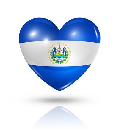 bandera de el salvador: Amor s�mbolo de la bandera del coraz�n 3D El Salvador Foto de archivo
