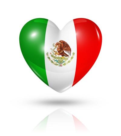 mexican flag: Love Mexico symbol  3D heart flag