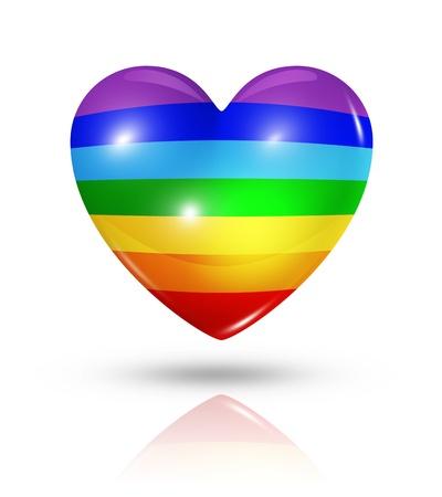banner of peace: Love peace symbol  3D rainbow heart flag