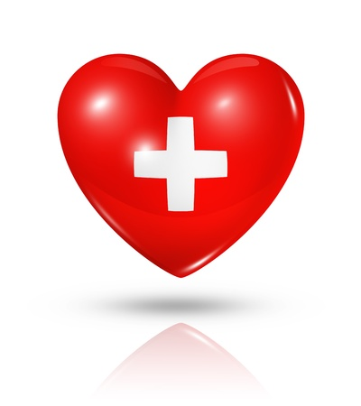 switzerland flag: Love Switzerland symbol  3D heart flag