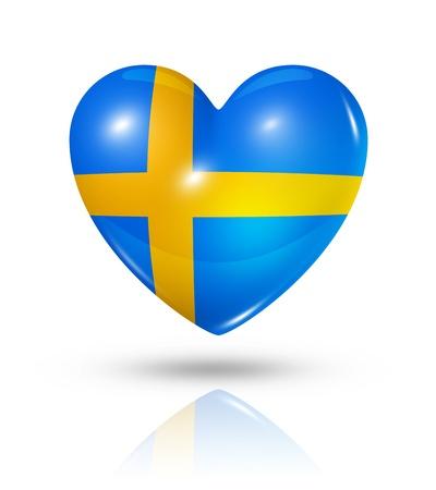 sweden flag: Love Sweden symbol  3D heart flag