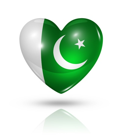pakistani: Love Pakistan symbol  3D heart flag