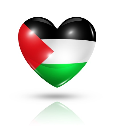 palestine: Love Palestine symbol  3D heart flag