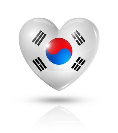 Corée du Sud symbole drapeau de coeur 3D amour Banque d'images - 22160344