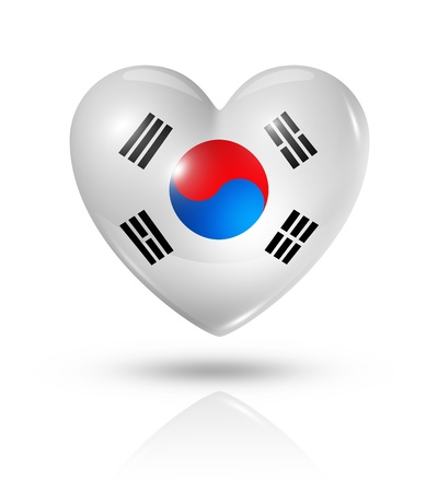 Love South Korea symbol  3D heart flag
