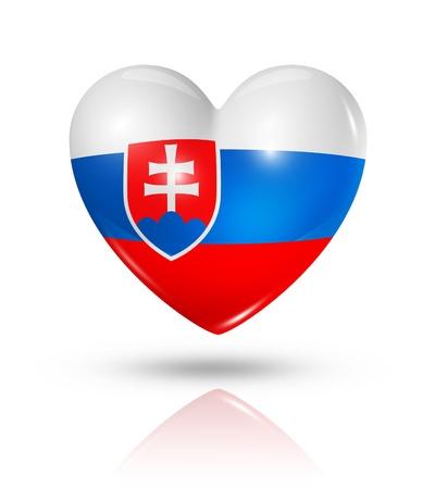 slovakia flag: Love Slovakia symbol  3D heart flag