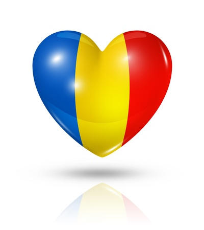 romania: Love Romania symbol  3D heart flag Stock Photo