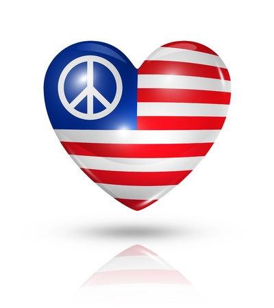 peace flag: USA peace love symbol  3D heart flag  Stock Photo