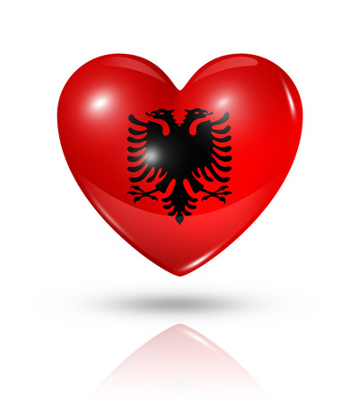 Love Albania symbol. 3D heart flag icon isolated on white   photo
