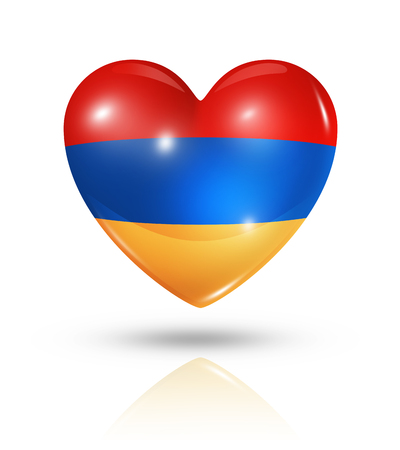 Love Armenia symbol. 3D heart flag icon isolated on white   photo