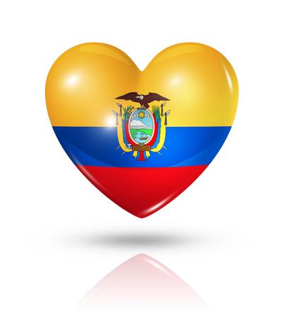 ecuador: Love Ecuador symbol. 3D heart flag icon isolated on white   Stock Photo