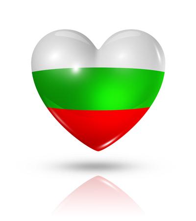 bulgaria: Love Bulgaria symbol. 3D heart flag icon isolated on white   Stock Photo